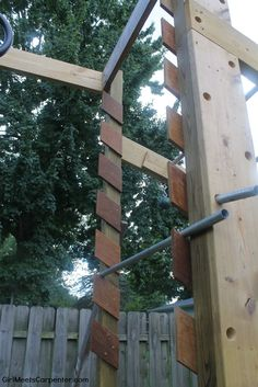 How to Build Your Own American Ninja Warrior Training Course 15 Build Your Own Salmon Ladder On A Backyard Ninja Warrior Course, By Girl Meets Carpenter Featured On Remodelaholic Backyard Gym, Backyard Playset, Backyard Obstacle Course, Backyard Playground, Backyard For Kids, Kids Ninja Warrior, America Ninja Warrior, Ninja Warrior Course, American Ninja Warrior Obstacles