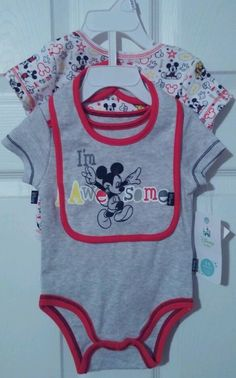 "Disney Baby Mickey Mouse 3 pc Infant 3 to 6 months Set with Bib ""I'm Awesome"" #DisneyBaby #Everyday"