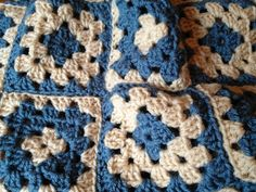 Granny Squares Baby Blanket Crochet  Blue by SwansNestCreations, $25.00