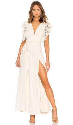White Poppy Wrap Dress in Naturale Lace