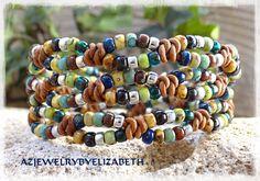 Beaded Wrap Bracelet/ Seed Bead Leather Wrap Bracelet/