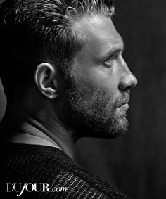 """With starring roles in action tentpoles like """"Insurgent"""" and the newly rebooted """"Terminator"""" franchise, the brawny 28-year-old Australian Jai Courtney—who's appeared alongside Tom Cruise in """"Jack Reacher"""" and Bruce Willis in """"A Good Day to Die Hard""""—seems poised to become the go-to blockbuster bruiser of his generation. Sweater, price upon request, BOSS."""