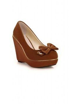 58e624eb9343 GrabMyLook Suede Gold Trim Elegant Bow Wedges Platforms High Heels Shoes  Platform High Heels