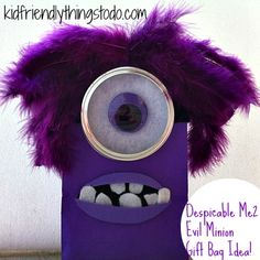 Despicable Me 2 Evil Purple Minion Gift Bag Idea! He's Evil...I know! But, he's just so cute! It's time the Purple Evil Minion gets a little love! :) Make these gift bags for your Despicable Me Party! Fun!
