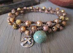 Knotted sky blue necklace PEACE artisan sterling by slashKnots