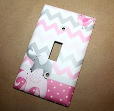 All Creatures Big and Small Pink Gray Elephants and Birdies Girls Bedroom Single Light Switch Cover
