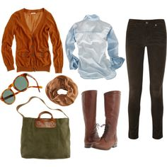 fall style. Love the orange cardi and the bag:)