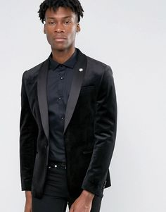 ASOS   ASOS Skinny Fit Blazer In Black Velvet