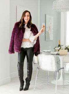 Sydne Style shows how to wear over the knee boots for winter fashion trends   fauxfur · Holiday Party ... 3b2316b09