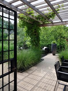Ornamental grasses and vines provide texture, height and interest to this sophisticated New York retreat. Stone pavers, a paned door and the overhead trellis all feature clean rectangular lines. Desig