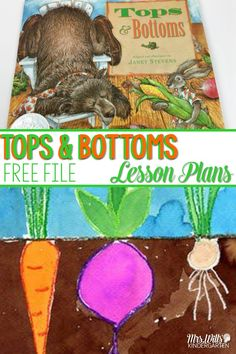 Tops and Bottoms Lesson Plans! Here are some great book activities for kindergarten and first grade. Fun ideas to use with our favorite Janet Stevens book. Reading, responding to literature, retelling, center and craft ideas too! Perfect for Spring! Spring Activities, Book Activities, Preschool Activities, Seeds Preschool, Preschool Books, Physical Activities, Kindergarten Lesson Plans, Kindergarten Literacy, Kindergarten Library Lessons