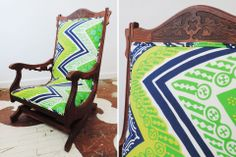 """We reupholstered this unusually comfortable antique Eastlake carved rocking chair in two coordinating Trina Turk for Schumacher indoor/outdoor textiles.   The front is upholstered in Tangier Frame / Sea Grass, the back is upholstered in Zebra / Bamboo.  23"""" wide x 38"""" high x 19"""" deep $625.00 to purchase as shown"""