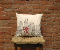 Philadelphia Skyline Pillow Red Love Park 16x16in handmade Urban Throw Pillow Nyc cityscape artistic classy city wedding valentines