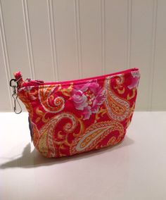 Quilted pink and orange makeup bag by PhoebeMade on Etsy, $15.00