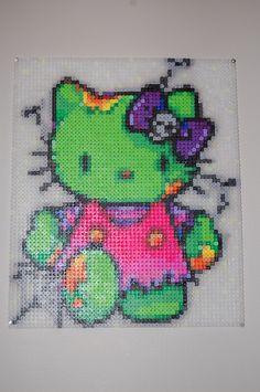Zombie Hello Kitty perler bead art made by me amanda wasend perler bead / cross stitch pattern Pony Bead Patterns, Pearler Bead Patterns, Perler Patterns, Loom Patterns, Beading Patterns, Cross Stitch Patterns, Perler Bead Art, Perler Beads, Hello Kitty Crafts