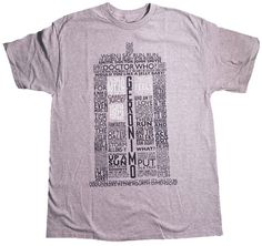 Doctor Who: TARDIS Words T-Shirt This shirt is sure to take you on a trip down memory lane as all of your favorite lines from Doctor Who come together to form the TARDIS.
