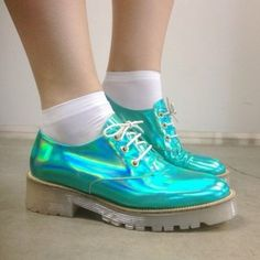 shoes metallic blue oxfords help holographic holographic shoes turquoise pastel goth pastel cute green