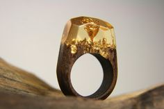 Wooden ring Golden Rose GreenWood by StoreGreenWood on Etsy