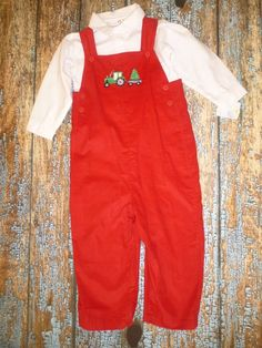 7aac81e87 New Petit Ami 4T Red Overalls Tractor Christmas Tree Holiday Set Longall  Santa #PetitAmi Red