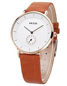 Kezzi Mens Watches K1080 Casual Quartz Analog Light Brown Leather Wrist Watch for Man ** Click image to review more details. (Note:Amazon affiliate link)