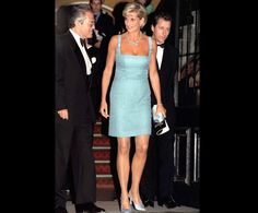 i just love this dress    June 03, 1997  Attending the English National Ballet, wearing a Jacques Azagury dress, Jimmy Choo shoes and a necklace loaned by Garrard jewellers.
