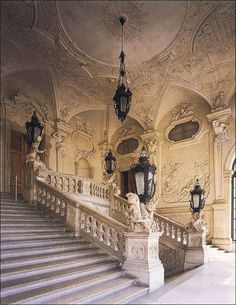 The staircase at Prince Eugene of Savoy's Winter Palace,  ( Winterpalais Prinz Eugen), also known as the City Palace , a high-Baroque palace in the Innere Stadt district of Vienna, Austria