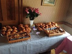 Lots of croissants for tasty Taragon Chicken Salad sandwiches at the French themed bridal shower