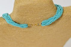 Bridesmaid gift turquoise necklaceseed bead by StephanieMartinCo