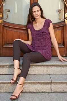 Lana Grossa TOP IM FALLMASCHENMUSTER Lido - FILATI No. 49 (Frühjahr/Sommer 2015) - Modell 58 | FILATI.cc WebShop Crochet Stitches, Knit Crochet, Crochet Tops, Gluteal Muscles, Diy Tops, 49er, Her Style, Elegant, Knitting