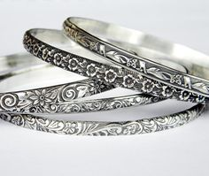 Solid Sterling Floral Bangle Set Sterling Bangle Set Set of Solid Silver Bangles, Silver Bangle Bracelets, Bangle Set, Silver Hoop Earrings, Sterling Silver Jewelry, Drop Earrings, Artisan Jewelry, Handmade Silver, Fashion Jewelry