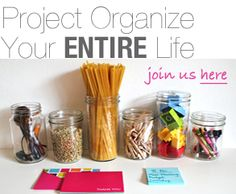 I love the way she tackles her organizing goals - it's down to earth and realistic, and she asks her readers for advice to find out what works for them.
