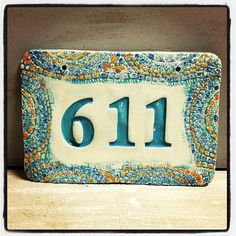 Teal Mosaic Look turquoise House Number Sign / Home Address