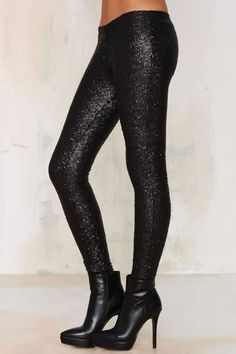 Amuse Society In A Manner Of Sequin Leggings - Black - Clothes | Legging