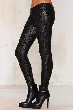 Sequin Leggings - Black