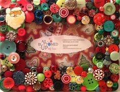 Christmas Button Picture Frame in Red & by allbuttonedupbytina, $40.00
