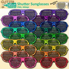 """Need an idea for a bulletin board display? How about taking a fun photo of each of your students, overlapping a pair of these 80's style shades on top, and printing them out for display on your bulletin board? You'll be the talk of the school for making their learning environment so cool, they """"gotta wear shades!"""" LINK: https://www.teacherspayteachers.com/Product/Shutter-Sunglasses-Clip-Art-2183208 #summer"""