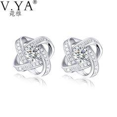 100% Real 925 Sterling Silver Earrings for Women Jewelry Cubic Zirconia Luxury Bling Bling Stud Earring CE109 #Affiliate