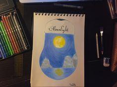 #moonlight #draw #moon #illustration #landscape #bulb #unrealistic #pencil #art