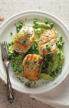 Sautéed Cod with Pea Cream by Saveur. Buttery cod is accented with a creamy pea purée and crushed mustard seeds in this recipe adapted from one in Fish: Recipes from the Sea (Phaidon Press, Cod Recipes, Fish Recipes, Seafood Recipes, Cooking Recipes, Healthy Recipes, Whole30 Recipes, Tilapia Recipes, Cooking Fish, Pescatarian Recipes