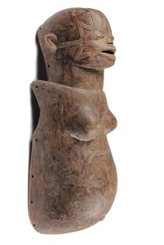 AFRICAN BODY MASK - Makonde People, Tanzania, Female Body Mask with head, with lizard form scarification, used in fertility rituals, with en...