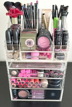 "Arya Acrylic Makeup Organizer Storage Modular Tray & Aubrey Acrylic Makeup Organizer 4 Drawer Modular with Acrylic Handle. ""Arya Acrylic Makeup Organizer Storage Tray"" is our Most Loved from our colle Make Up Organizer, Make Up Storage, Storage Ideas, Skin Makeup, Makeup Brushes, Beauty Makeup, Makeup Remover, Makeup Box, Makeup Geek"