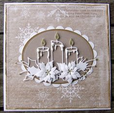 Ravn Design: White and kraft julekort Die Cut Christmas Cards, Christmas Card Messages, Christmas Card Crafts, Homemade Christmas Cards, Christmas Candles, Xmas Cards, Holiday Cards, Poinsettia Cards, Poinsettia Flower
