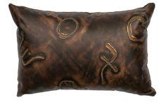 Stampede Fabric Leather Lumbar Pillow