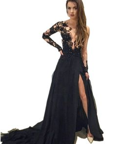 Sleeve Lace Prom Dresses,Mermaid Prom Dresses,Black V-Neck Prom Dress,Sweep Train Evening Dress With on Luulla