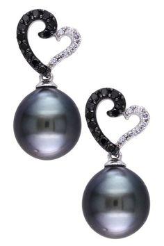 10K White Gold 9-9.5mm Black Tahitian Pearl & Black & White Diamond Heart Drop Earrings