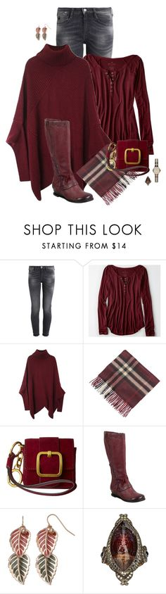 """Maroon Boots & Mini Bag"" by fashionista88 ❤ liked on Polyvore featuring American Eagle Outfitters, Burberry, Tory Burch, Miz Mooz and Sevan Biçakçi"
