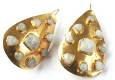 Vezoora Gold  Earrings with Moonstone Hammered 24kt Heavy gold plate earrings with gemstones.