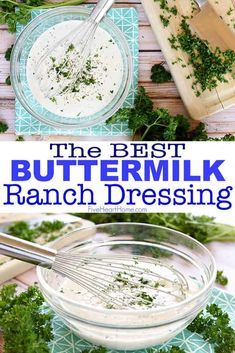 Homemade Ranch Dressing is all-natural, loaded with buttermilk and herbs, simple to make, and SO GOOD that you'll never go back to store-bought again! Best Ranch Dressing, Buttermilk Ranch Dressing, Homemade Ranch Dressing, How To Make Ranch, Salad Dressing Recipes, Salad Dressings, Salad Recipes, Avocado Dressing, Homemade Buttermilk