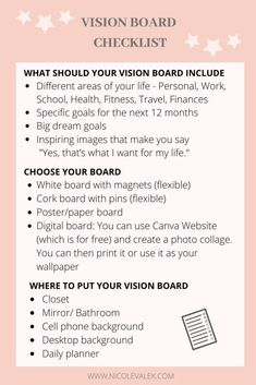 Vision Board Checklist - - How to create a vision board that works and how to chase your dreams and goals for the new year. Create the life you love with a vision board. Instagram Inspiration, Goal Board, Manifestation Journal, Manifestation Law Of Attraction, Creating A Vision Board, Visualisation, Self Care Activities, Goal Setting Activities, Self Improvement Tips