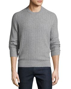 Neiman Marcus Cable-knit Cashmere Crewneck Sweater In Green Joey Tribbiani, Men Sweater, Crewneck Sweater, Cable Knit Sweaters, Neiman Marcus, Cashmere, Crew Neck, Pullover, Knitting